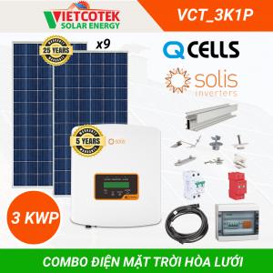 Điện mặt trời hòa lưới 3kwp 1 pha